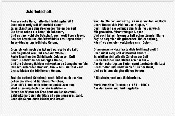 Osterbotschaft – Marie Hunziker-Thommen