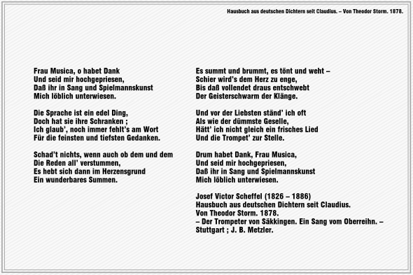 Frau Musica, o habet Dank – Joseph Victor von Scheffel